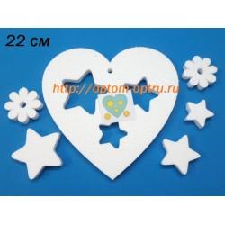 Сердечки с внутр элементами из пенопласта 22 см.  ( 4 шт )