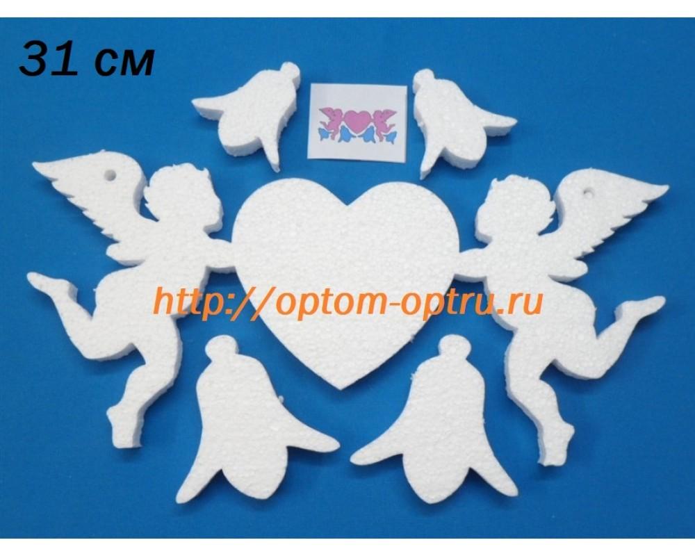 Ангелы держат сердце из пенопласта 19 см. ( 1 шт )