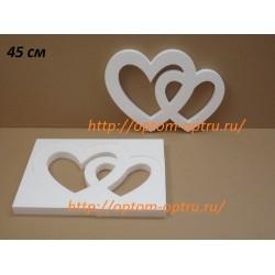 Сердце двойное из пенопласта 45 см х 35 мм.( 1 упк. )