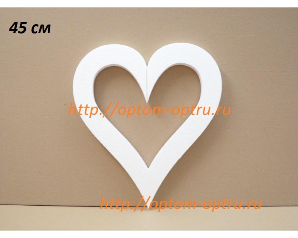 Сердце из пенопласта с внутренним вырезом  45 см. х 35 мм. ( 1 шт )