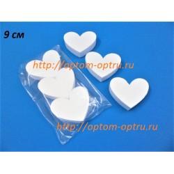 Сердце из пенопласта 9 см.в упаковке ( 3 шт.) Кол-во 5 фасовок.