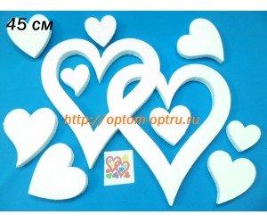 """Сердце двойное из пенопласта № 3 """" 45 см х 2 см.( 1 упк. )"""