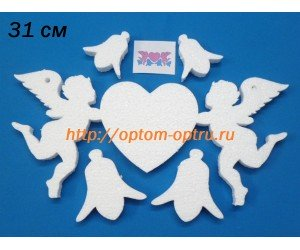 Ангелы держат сердце из пенопласта 31 см. ( 1 шт )