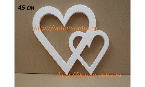 "Сердце двойное из пенопласта № 2"" 45 см х 35 мм.( 1 упк. )"