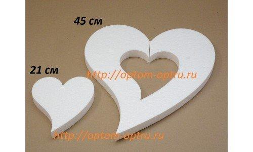Сердце не симметричное из пенопласта 2 в 1 , 45 см и 21 см. ( 1 упк. )