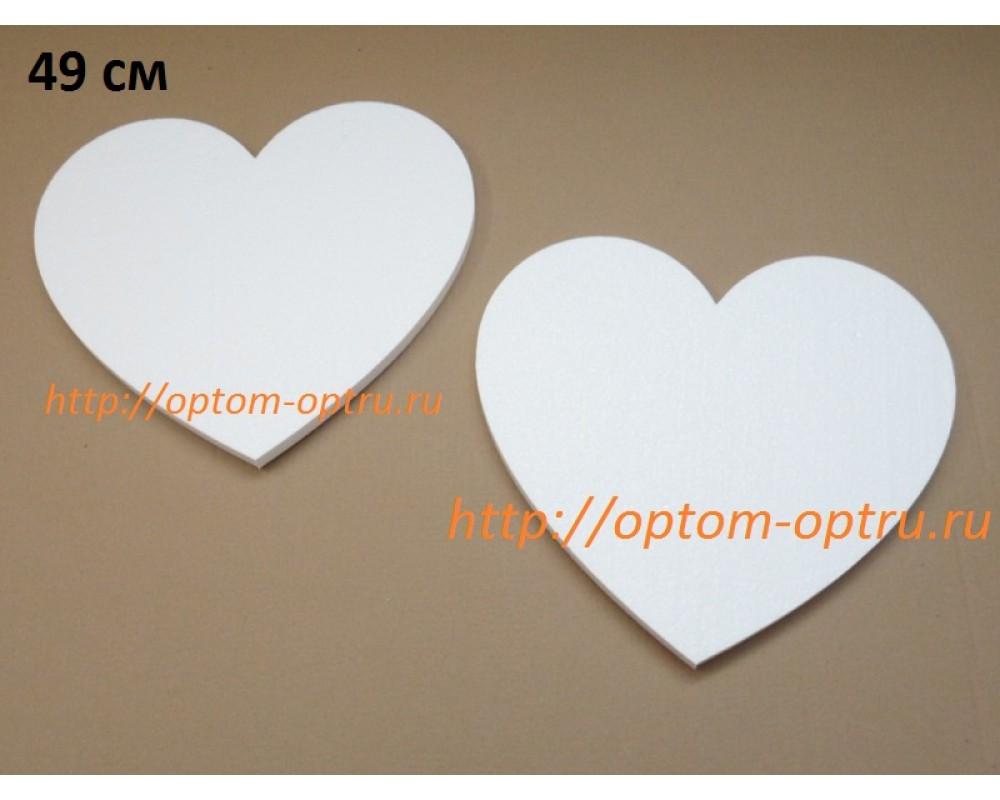Сердце плоское из пенопласта 49 см. ( 1 шт.)