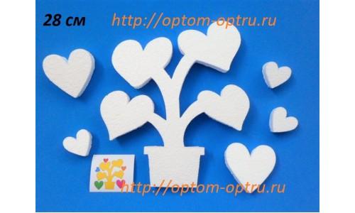 Дерево с сердечками из пенопласта 28 см. ( 1 шт.)