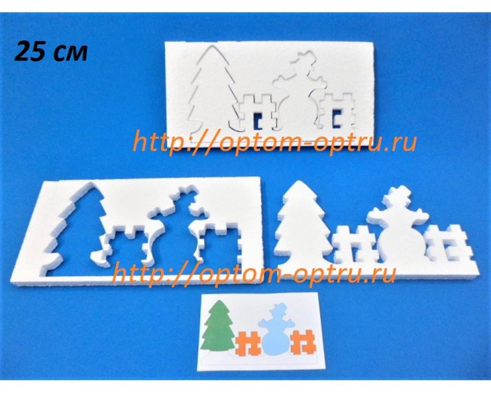 Снеговик и Елка из пенопласта 25 см.  ( 1 упк )