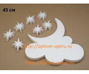 Луна с облаком из пенопласта 45 см х 35 мм. ( 1 шт )