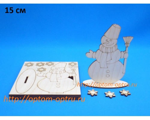 """Заготовки из фанеры 3 мм """"Снеговик на подставке 15 см."""" ( 1 шт.)"""