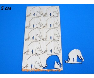 """Заготовка из фанеры 3 мм набор """"Слон"""" 5 см. Кол-во 1 набор"""