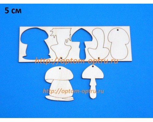 """Заготовка из фанеры 3 мм набор """"Набор грибов 5 см."""" Кол-во 1 набор"""