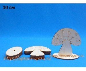 """Заготовка из фанеры 3 мм гриб """"Мухомор на поставке 10 см."""" ( 1 шт )"""