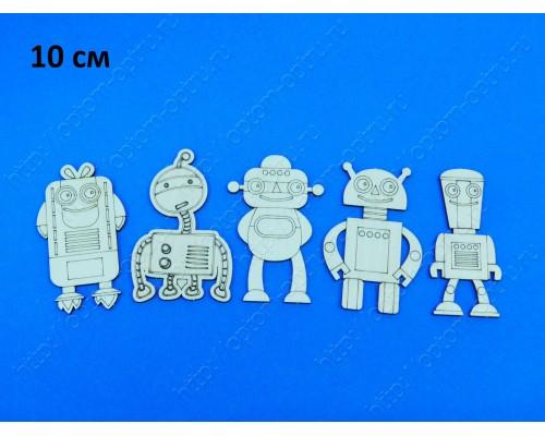 """Заготовка из фанеры """"Роботы 10 см"""" Кол-во 5 наборов"""