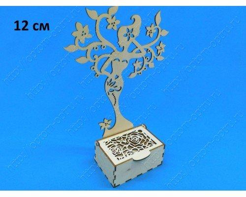 """Заготовка из фанеры 3 мм шкатулка """"Роза 12 см"""" с деревом под украшения. ( 1 шт )"""