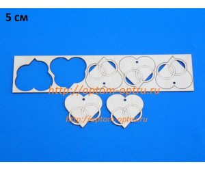 """Заготовка из фанеры 3 мм набор """"Сердце с кольцами"""" 5 см. Кол-во 1 набор"""