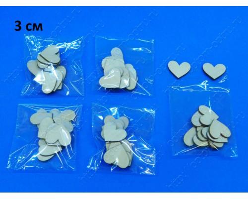 """Заготовка из фанеры 3 мм """"Сердечки 3 см"""" в упаковке 10 шт. ( 1 упк )"""