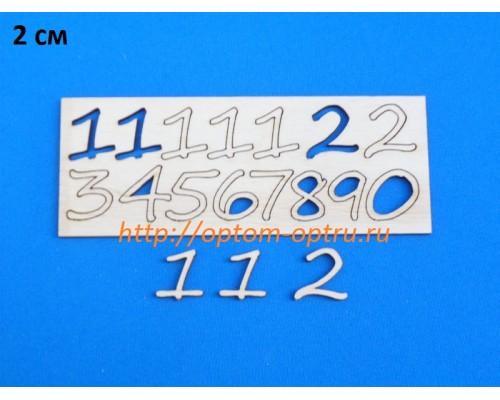 """Заготовка из фанеры """"Набор цифр 2 см для циферблата часов."""" Кол-во 5 наборов"""