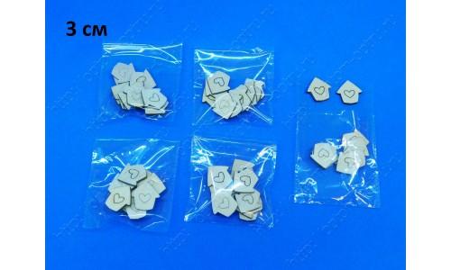 """Заготовка из фанеры 3 мм """"Домик с сердечком 3 см"""" в упаковке 10 шт. ( 1 упк )"""